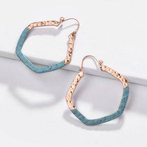 Anthropologie Hexagon Turquoise Gold Hoop Earrings